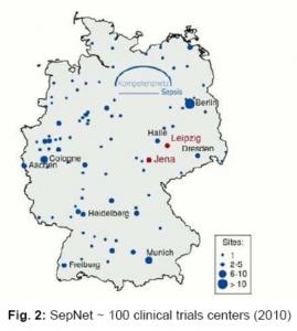 Landkarte Deutschlands, Zentren sind eingezeichnet
