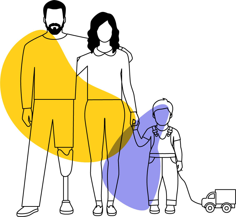 Illustration Sepsis-Stiftung Betroffene Familie