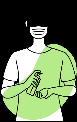 Illustration Sepsis und COVID Hände desinfizieren
